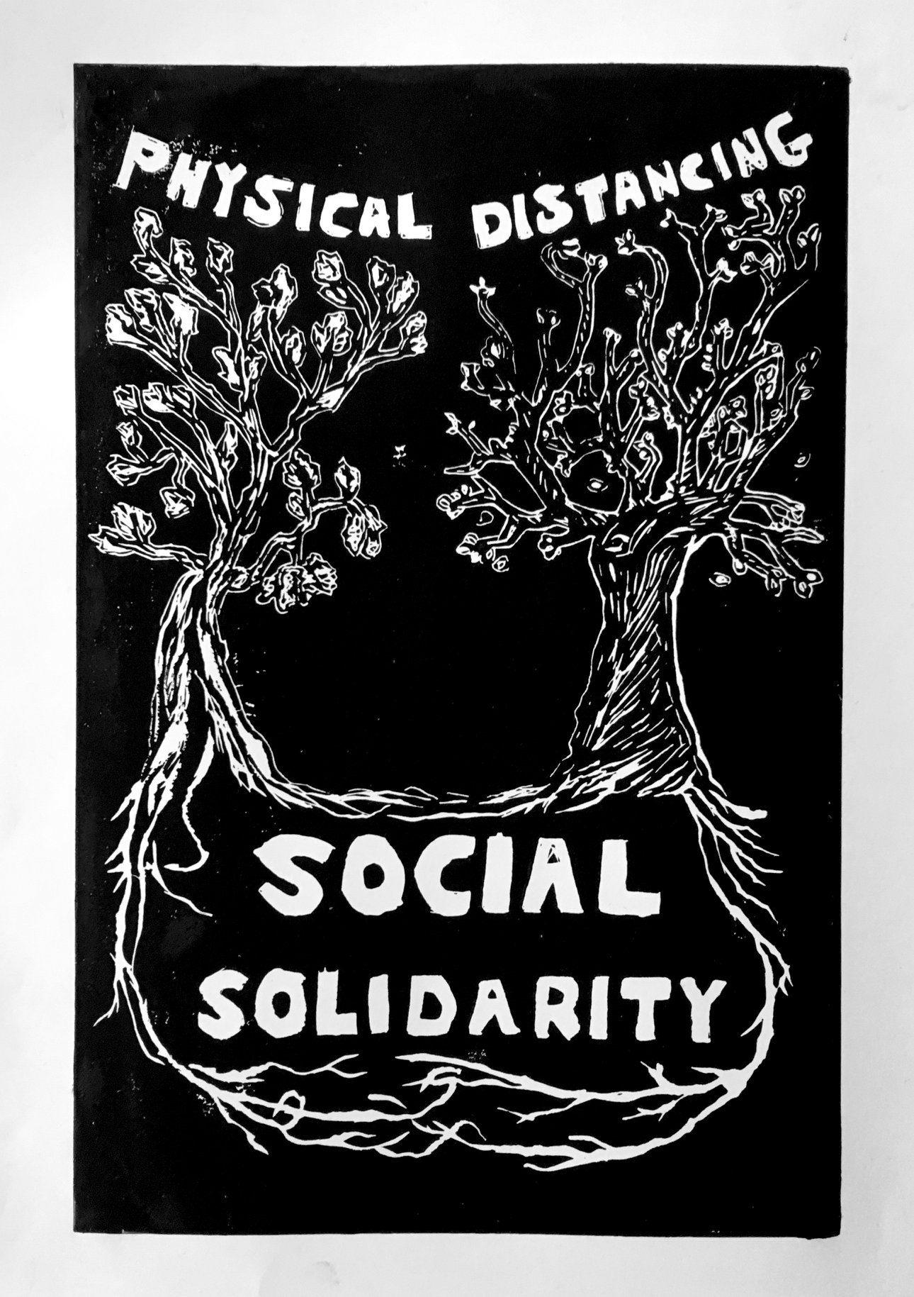 Linocut Tara Weinberg Physical Distancing Social Solidarity