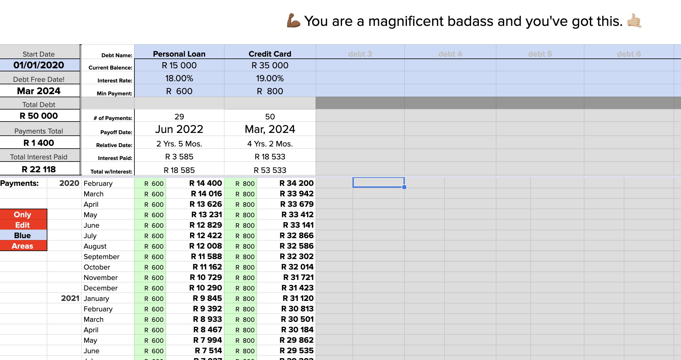 a screenshot of the debt dashboard
