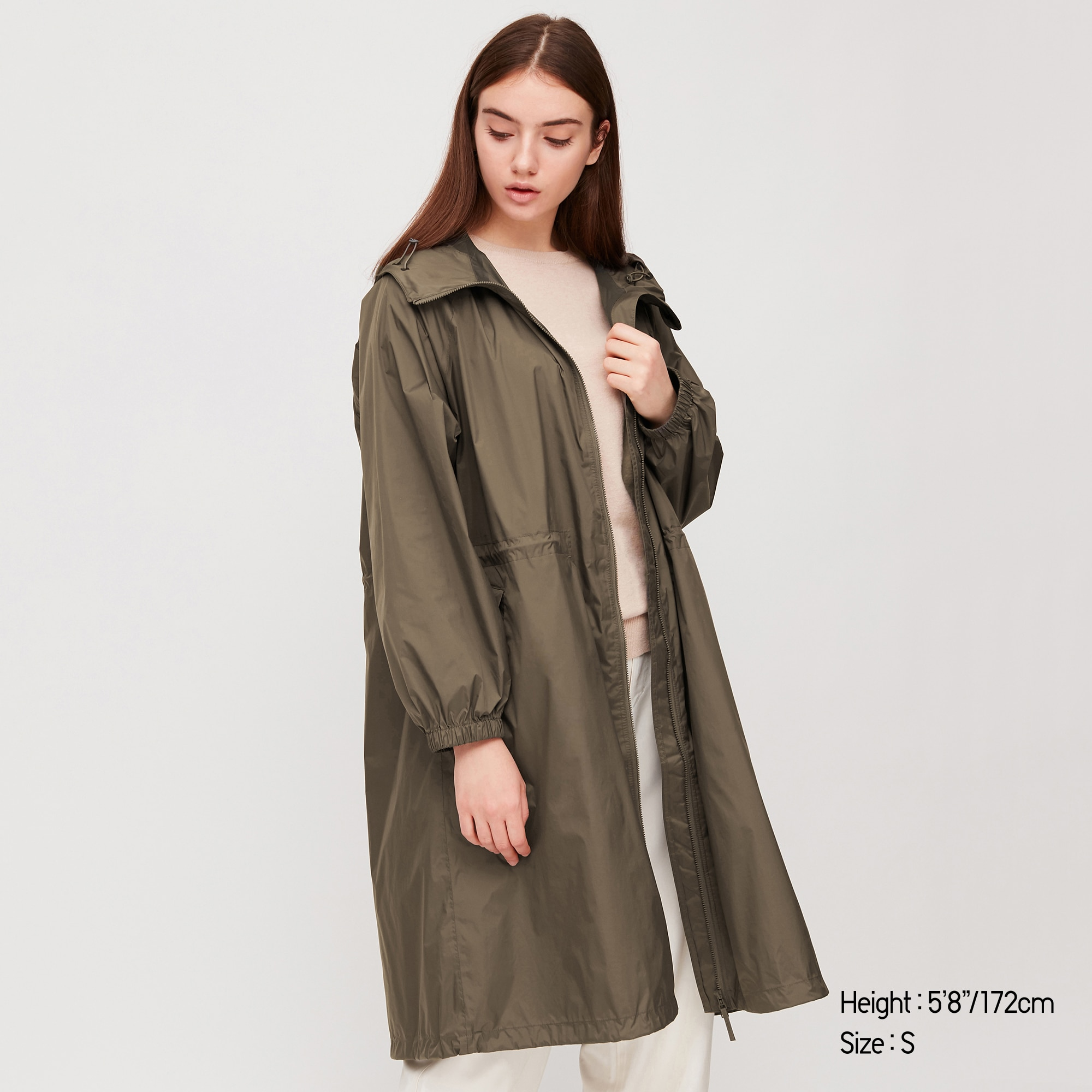 A thigh-length rainjacket from Uniqlo