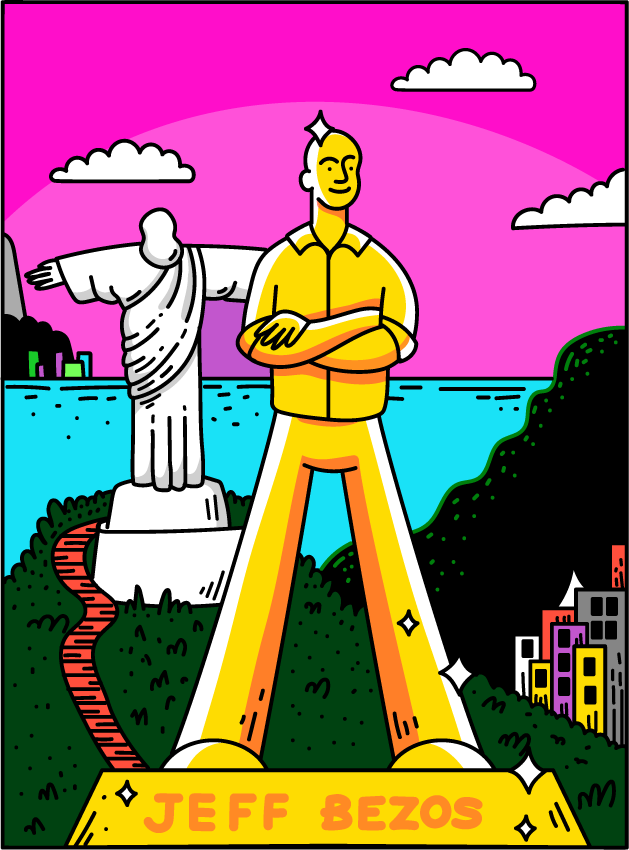 Illustration of a solid gold statue of Jeff Bezos