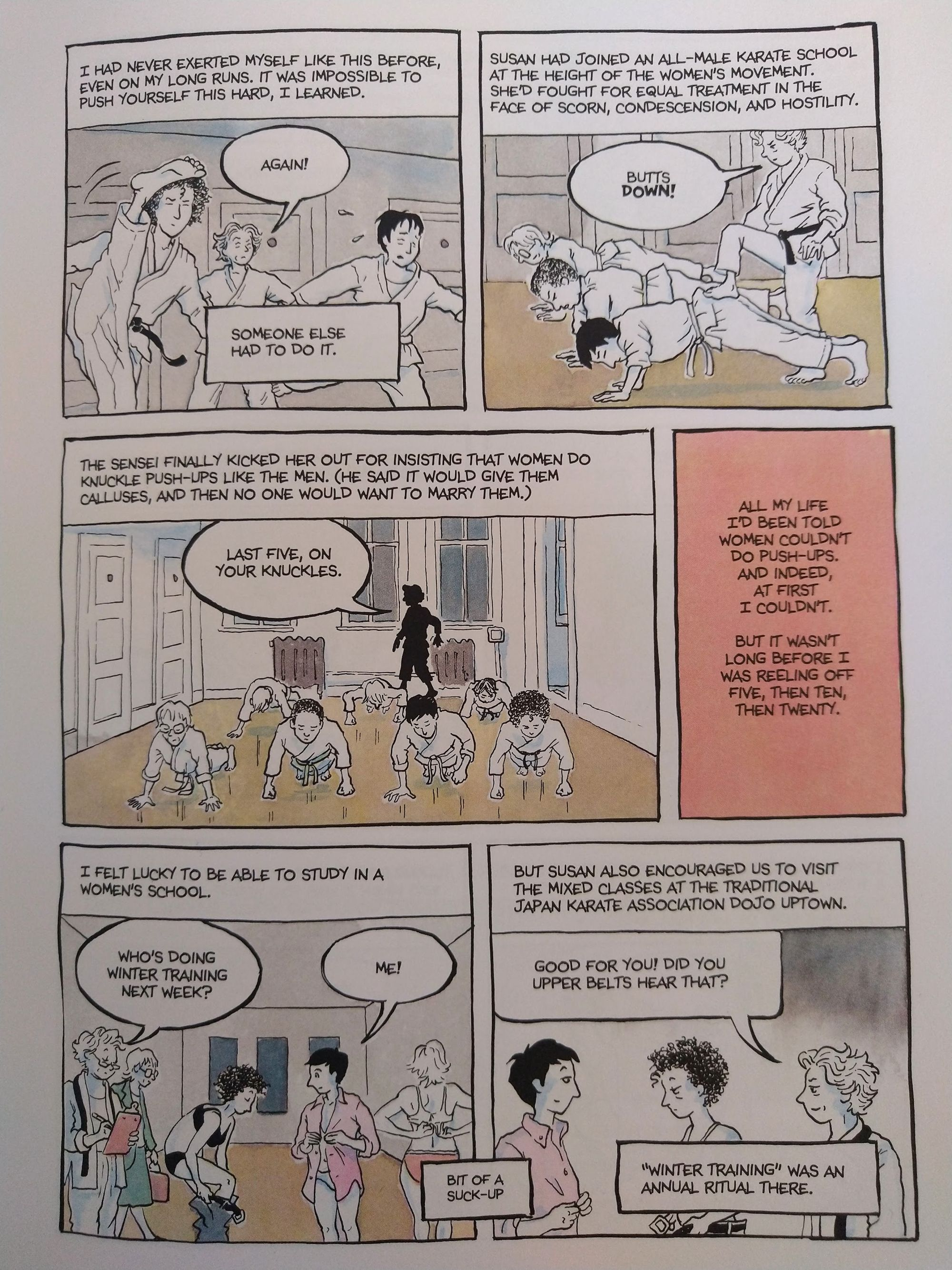 """A page from Alison Bechdel's """"The Secret to Superhuman Strength"""" about learning karate."""
